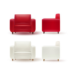 set of armchairs vector image