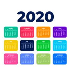 2020 happy new year calendar template in clean vector