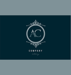 Ac a c blue decorative monogram alphabet letter vector