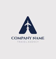 Air plane tour travel logo design vector
