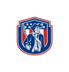 American Patriot Holding Bayonet Rifle Shield vector