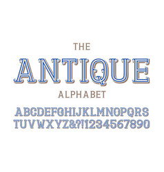 antique alphabet with numbers in vintage vector image
