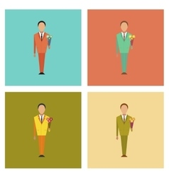 Assembly flat icons schoolboy flowers vector