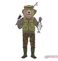 bear fisherman sport and outdoor activity vector image