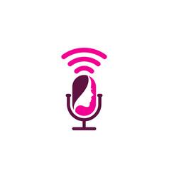 Beauty podcast logo icon design vector