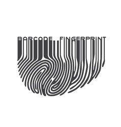 Black fingerprint with bar code vector