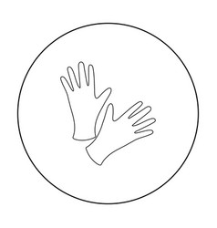 black protective rubber gloves icon outline vector image
