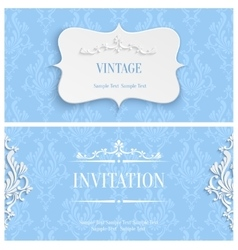 Blue 3d Vintage Invitation Card with Floral vector