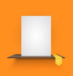 book shelf on light orange background vector image