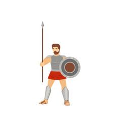 brave caucasian centurion standing with spear and vector image