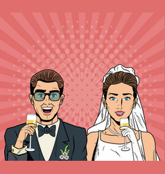 Bride and groom pop art cartoon internet security vector