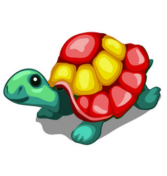 brightly painted figurine a turtle isolated on vector image