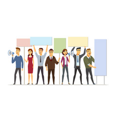 Business people on strike - modern cartoon people vector