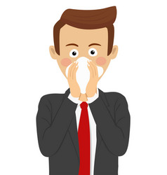 Businessman blowing his nose in handkerchief vector