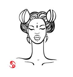 Cancer zodiac beautiful fashion girl vector