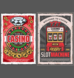 casino roulette slot machine and golden coins vector image