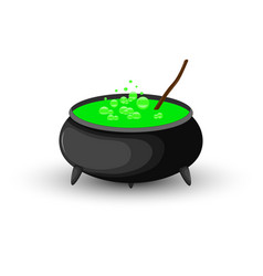 cauldron of boiling green potion for halloween vector image