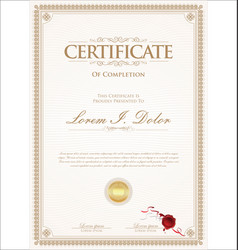 Certificate or diploma retro vintage template 01 vector