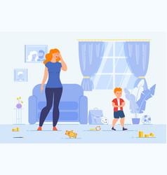 Child discipline problems flat concept vector