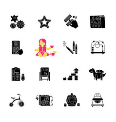 childhood toys black glyph icons set on white vector image
