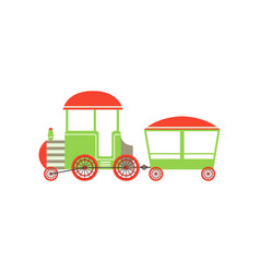 childrens passenger toy train green and red vector image