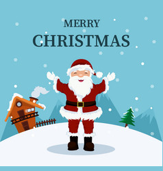 christmas card of santa claus at home in the north vector image