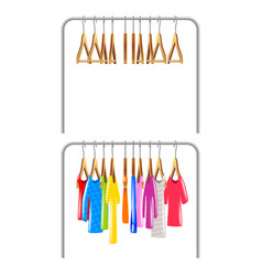 clothing on hangers isolated clothing on hangers vector image