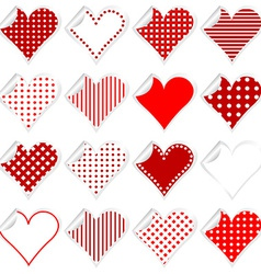 Collection of cute hearts stickers with twisted vector