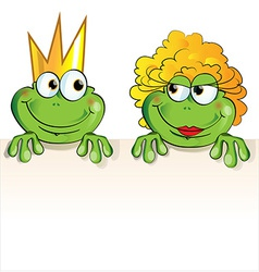 couple frog cartoon vector image