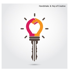 Creative key and handshake sign vector