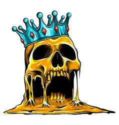 Crowned king skull symbol spooky human cranium vector