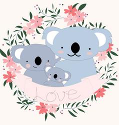 Cute koala bear family carton in flower border vector