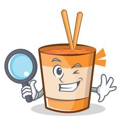 Detective cup noodles character cartoon vector