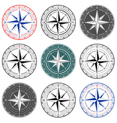 dial compass set with windrose 9 vector image