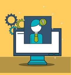 digital marketing computer profile notification vector image