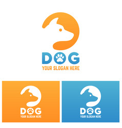 dog silhouette in circle isolated logo vector image