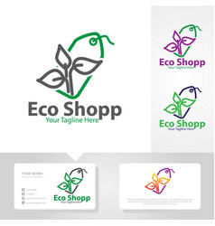eco shop logo designs vector image