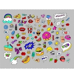 Fashion modern doodle cartoon patch badges or vector