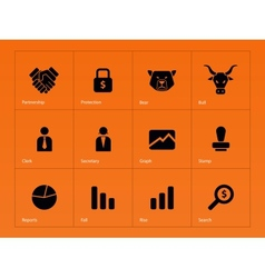 Finance icons on orange background vector image
