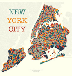 Four color new york map vector