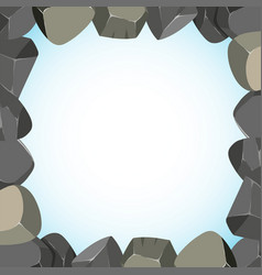 Frame design with rocks and sky vector