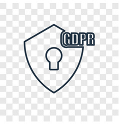 Gdpr concept linear icon isolated on transparent vector