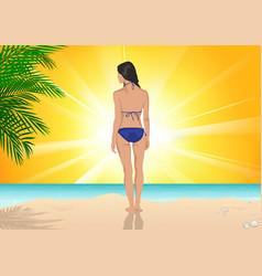 girl standing on beach vector image