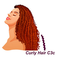 girl with luxury long curly brunette hairstyle vector image