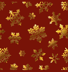 gold snowflakes on red for gift box papper pattern vector image