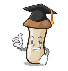 Graduation pleurotus erynggi mushroom character vector