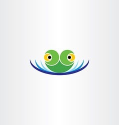 green frog head in water pond icon logo vector image