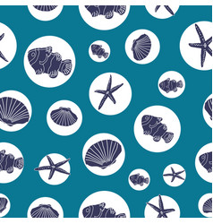 Hand drawn sea life in white circles on an ocean vector