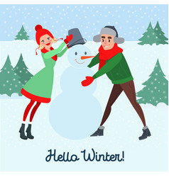 happy couple making snowman hello winter vector image
