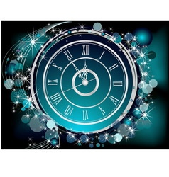 Happy New Year background silver and blue vector image